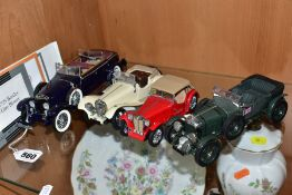 FOUR UNBOXED FRANKLIN MINT DIECAST VHEICLES, all 1/24 scale, 1926 Mercedes Benz Model K (missing