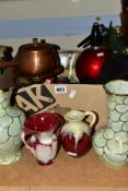A BOX AND LOOSE CERAMICS, METALWARES, OPTICAL EQUIPMENT, ETC, to include two Oldcourt Ware jugs with