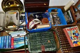 SIX BOXES AND LOOSE BOOKS, PICTURES, GAMES, HABERDASHERY AND SUNDRY ITEMS, to include two boxes of