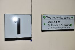 TWO MODERN ENAMEL RAILWAY SIGNS, 'Way Out to City Centre Way Out to St Chad's & St Paul's',
