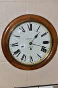 A LATE 19TH CENTURY CIRCULAR WALNUT WALL CLOCK, marked J Welch & Co, Bangor to the painted dial,