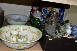 TWO BOXES AND LOOSE CERAMICS, GLASS, COLLECTORS DOLLS, ETC, to include Fieldings Devon Ware wash