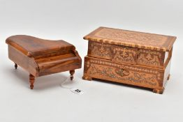 A SORRENTO INLAID MUSICAL JEWELLERY BOX, having inlaid detail, standing on four similar feet,