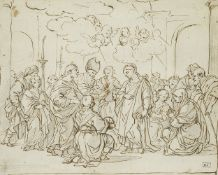 Attributed to Pietro da Cortona, Italian 1596-1669- The Presentation at the Temple; pen and brown