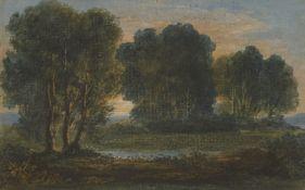 Circle of Benjamin West PRA, American/British 1738-1820- Arcadian landscape at sunset;