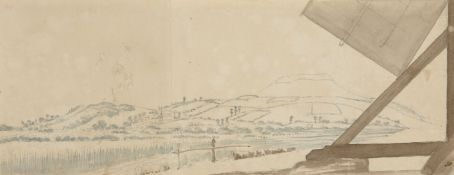 William Innes Pocock, British 1783-1836- Brent Knoll from Mill on Bridgewater Road, (recto),