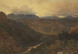 David Cox Jnr, British 1809-1885- Landscape, possibly North Wales; watercolour, 45x65.5cm