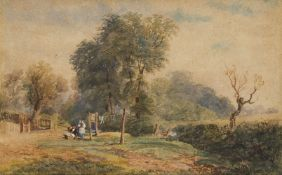 Circle of David Cox Jnr ARWS, British 1809-1885- Hanging out the Washing; watercolour with touches