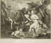Simon Vallée, French 1680-c.1730- Psiché et l'Amour, after Pierre Jacques Cazes; engraving, 36x42.
