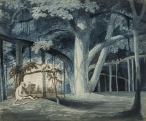 James Forbes, British 1749-1819- Banyan Tree with monkeys in a glade; collage of engraving with