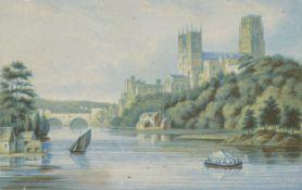 George Baxter, British 1804-1867- Durham Cathedral, Victoria Bridge Windsor, Head of Derwent Water