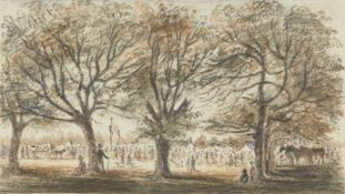 Attributed to Robert Mendham, British 1792-1875- A Country Gathering; pencil and watercolour with