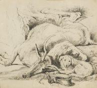 Circle of Sir Edwin Landseer RA, British 1802-1873- A Deer and a Dog; pencil, bears inscription to