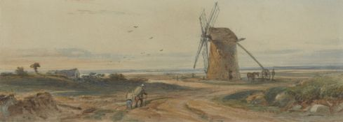 Joseph Murray Ince, Welsh 1806-1859- Figures on a road approaching a windmill; watercolour, 5.7x15.