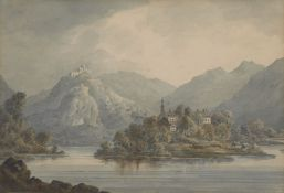 Circle of William Payne OWS, British 1760-1830- Views of mountainous landscapes; watercolours, four,