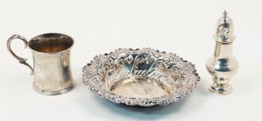 A small group of silver comprising: A Victorian silver mug, London, c.1855, Edward Ker Reid, of