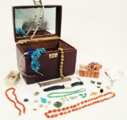 A group of jewellery including: a jadeite jade bead necklace and three pairs of drop earrings (one