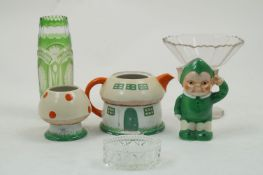A Mabel Lucie Atwell for Shelley three piece tea set, circa. 1926, comprising: a teapot modelled