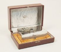A Japanese taste silver jewellery box, apparently retailed by Mikimoto (in Mikimoto fitted box), the