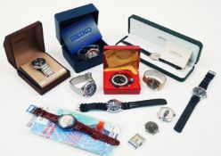 A group of watches by Seiko and other makers, including a stainless steel Quartz Chronograph 7A28-