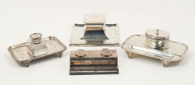 Four silver inkwells/stands, the largest example Birmingham, c.1938, S Blanckensee & Son, of