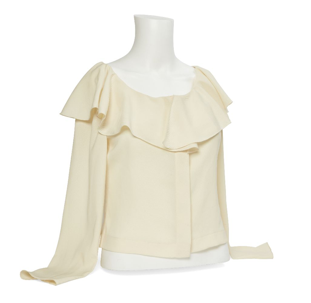 A Chanel ladies silk blouse, designed in a cream palette, with frill detail to neck, mother of pearl - Image 4 of 4