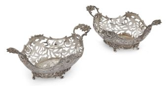 A pair of Dutch silver twin-handled baskets, possibly s' Gravenhage (The Hague), 18th century,