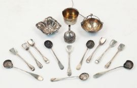 A small group of silver comprising: a set of seven French silver sorbet spoons, late 19th/early 20th