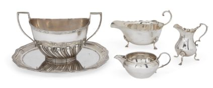 A small group of silver comprising: a silver card tray, Sheffield, date mark rubbed, Atkin Brothers,