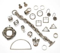 A collection of white metal jewellery, 20th century, to include: a Georg Jensen pendant designed