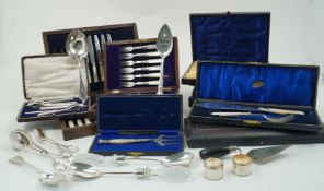Several sets of silver plated flatware including: a set of twelve each dessert knives and forks with
