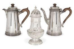 A silver café-au-lait pair, London, c.1925 and 1926, William Comyns & Sons Ltd., both of tapering