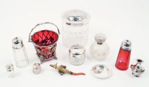 An Edwardian silver mounted scent bottle, Sheffield, c.1902, Walker & Hall, with hobnail cut glass