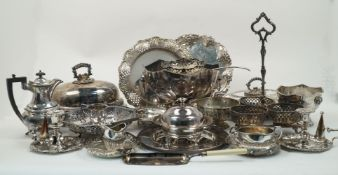A quantity of silver plate including: a large fruit bowl with lion mask handles together with a