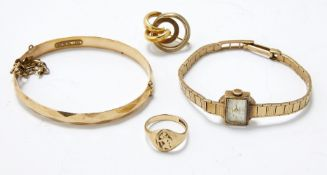 A 9ct gold signet ring, Birmingham, c.1975, together with: a 9ct gold ladies' watch, by Rotary,