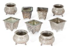 A set of five Chinese white metal salts, bases stamped with Chinese characters and maker's mark TYT,