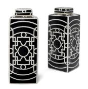 A pair of Art Deco pattern ceramic jars and covers, each of rectangular form, the monochrome