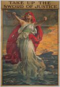 WWI INTEREST: a recruitment poster, 'TAKE UP THE SWORD OF JUSTICE', Parliamentary Recruiting