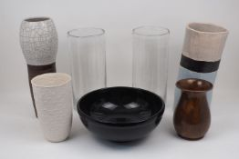 A collection of modern decorative glass and ceramic wares, to include: a pair of bubble glass vases,