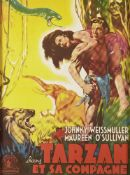 A 'TARZAN ET SA COMPAGNE' movie poster, starring 'Johnny Weissmuller and Maureen O'Sullivan',