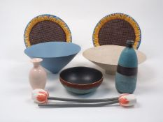 A group of studio ceramics, to include a large cream footed bowl of trumpet flaring form by