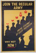 WWI INTEREST: a recruitment poster, 'JOIN THE REGULAR ARMY, MOVING STAIRWAY OF QUICK PROMOTION,