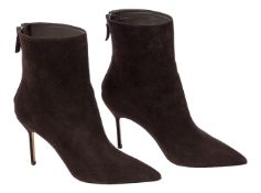 A pair of Manolo Blahnik ankle boots, designed in a dark chocolate suede, with pointed toe and