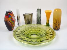A group of glass vases, 20th century, to include a smoky glass 'Totem' vase by Geoffrey Baxter for