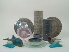 A mixed group of studio ceramics, glass, and objects, to include a pair of cylindrical studio
