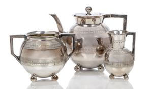 Attributed to Christopher Dresser (1834-1904) for James Dixon & Sons, a three piece electroplated