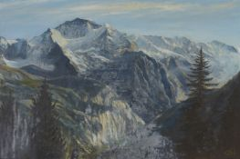 A. G. Levett, British School, mid 20th century- The Jungfrau; oil on canvas, signed with initials,
