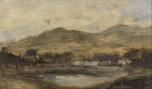 Suzanne Riddoch, British 20th century- Landscape study II, 1987; oil on board, bears a label with an