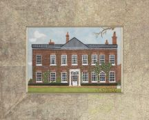 Francois Gilles, British School, mid-late 20th century- Façade of a house; collage and gouache,