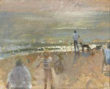 Richard Pikesley RWS PPNEAC, British b.1951- On west Bay beach; oil on canvas laid down on board,